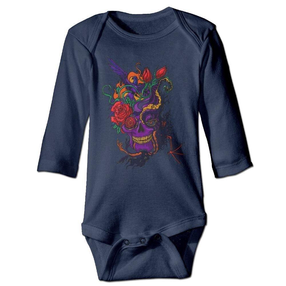 braeccesuit Baby Skull Bird Flowers Long Sleeve Romper Onesie Bodysuit Jumpsuit