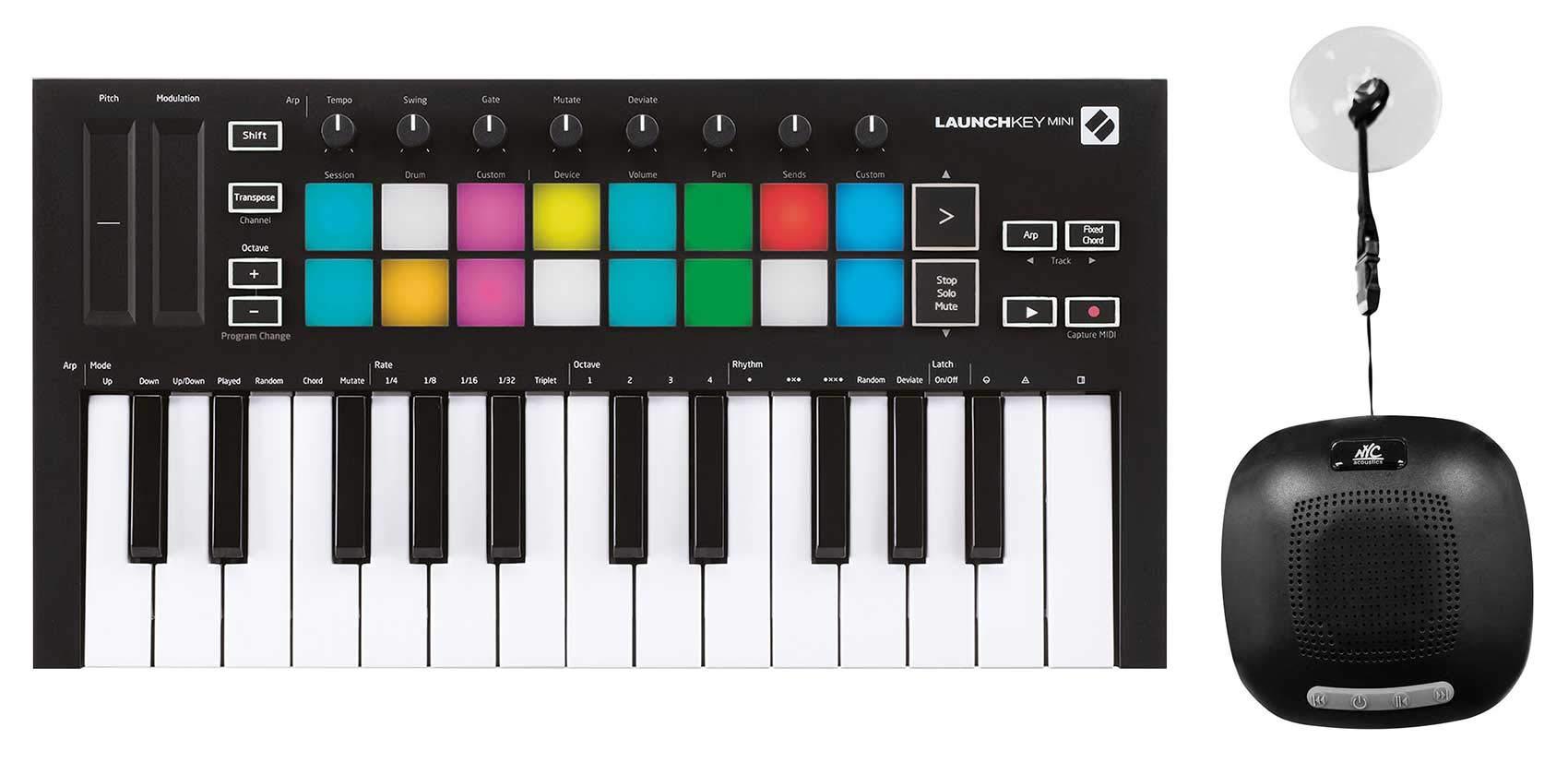 Novation Launchkey Mini MK3 25-key MIDI Keyboard Controller + Waterproof Speaker by Novation