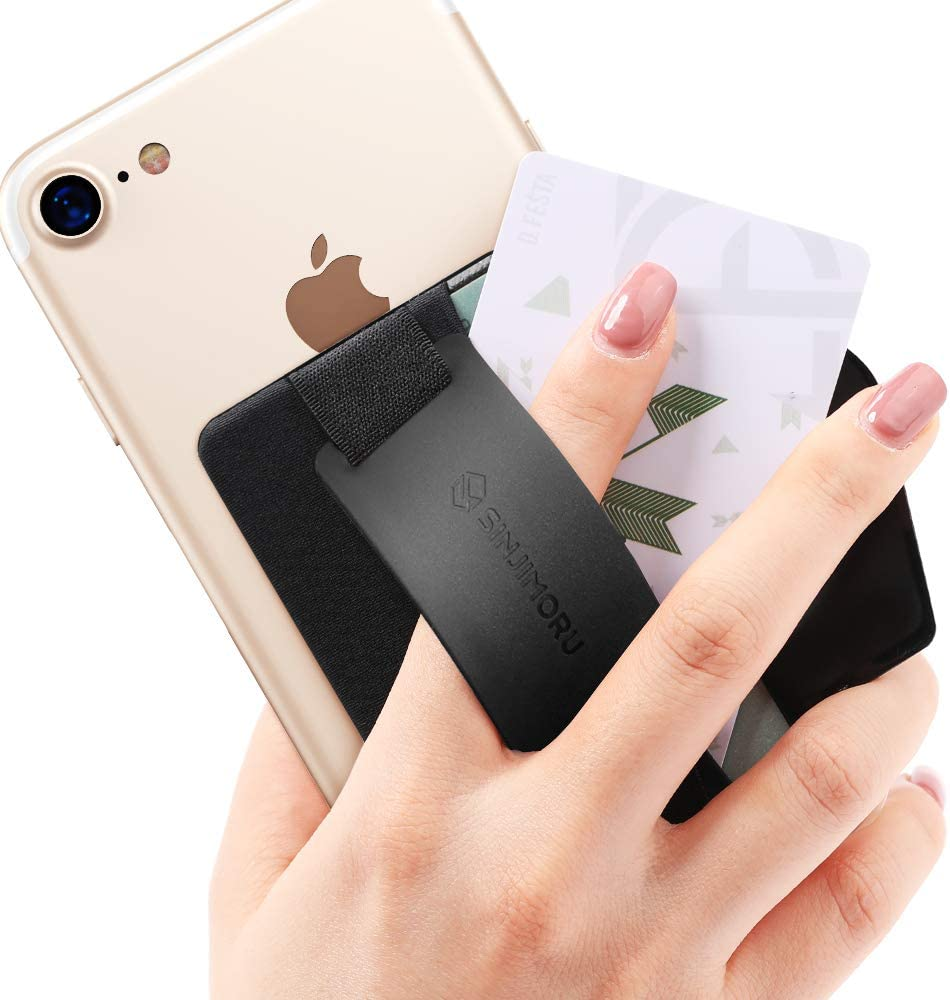 Sinjimoru Phone Grip Credit Card Holder with Phone Stand, Phone Wallet Stick on with Silicone Phone Holder Grip. Sinji Pouch B-Grip Silicone Black