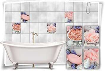 Fliesenaufkleber Fliesenbild Rose Blüte Rosa Wellness SPA Aufkleber - Rosa fliesen bad