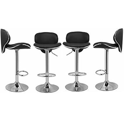 Magshion A10011 PU Leather Adjustable Bar Stools, Black