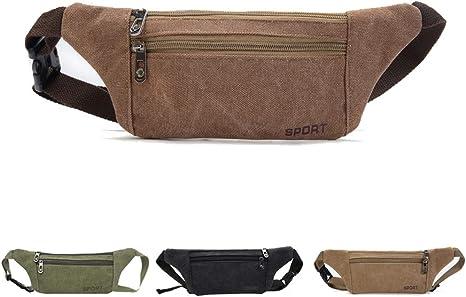 Khaki SOMESUN Fashion Canvas Unisex Solid Color Casual Sports Pockets Shoulder Bag Waist Packs
