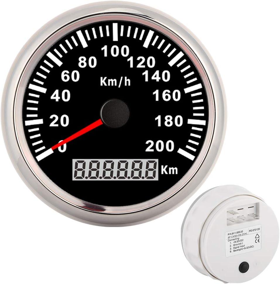 yate Veloc/ímetro GPS 200 km//h 3,3 pulgadas Veloc/ímetro GPS 12V//24V Od/ómetro marino digital impermeable para coche Marco plateado sobre blanco motocicleta
