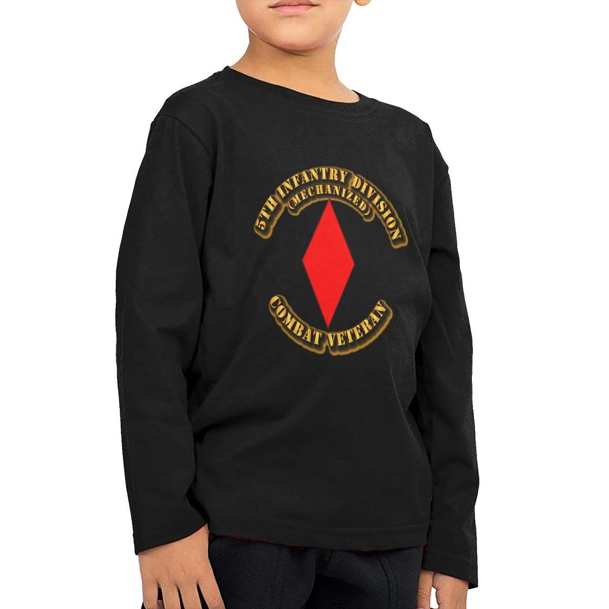 5th Infantry Division Combat Veteran Childrens Long Sleeve T-Shirt Boys Cotton Tee Tops