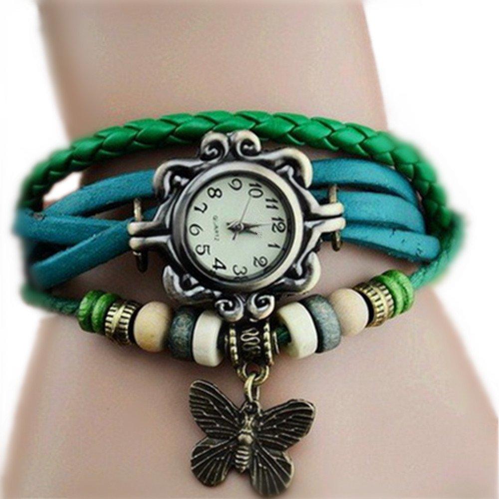 Ottery Women's Quartz Vintage Weave Wrap Bracelet Watch Butterfly Pendant Beads