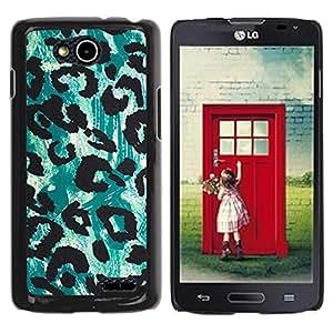 YOYOYO Smartphone Protección Defender Duro Negro Funda Imagen Diseño Carcasa Tapa Case Skin Cover Para LG OPTIMUS L90 D415 - modelo verde del leopardo de piel negro