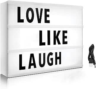 Caja de luz de cine con 215 letras y emojis – Mini caja de luz LED ...