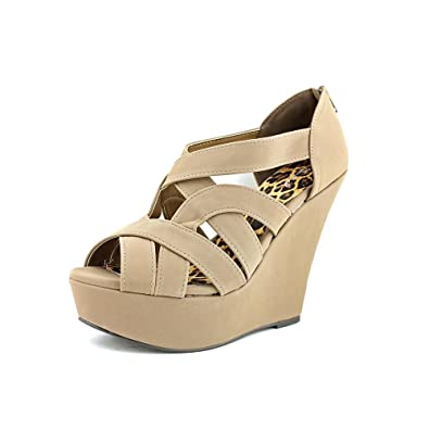 f4b1acbed9ce Qupid Women s Finder Open Toe Wedge Sandals
