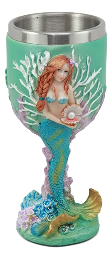 Ebros Turquoise Ocean Marine Coral Reef Ariel Little Mermaid With Pearl Wine Goblet 7oz For Bridal Nautical Fantasy Fairy Tale Gifts Wine Chalice Stylish Wine Tasting 6.5Tall