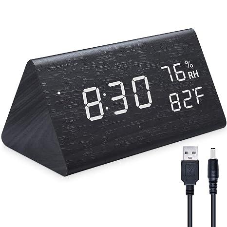 Ninonly Reloj Digital LED Reloj de Alarma de Madera, Comando con 3 Niveles con Marcador