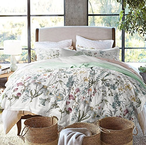 ENVOGUE French Country Provincial Wildflower Print Washed Cotton Percale Bedding Duvet Quilt Cover Set Modern Rustic Soft Vintage Floral Nature Color Palette (King)