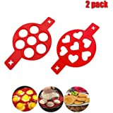 Pancake mold maker, 2 pack Upgrade 14 Cavity Nonstick Silicone Baking Round Mold Egg Rings Muffin Pancake Mould Heart