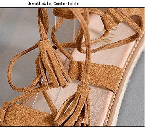 del Sandals Stiletto Sandalias De Zapatos Tobillo Zapatillas Playa Peep Romana Mujer Marrón Abierta Gladiador Punta Correa qBqY4