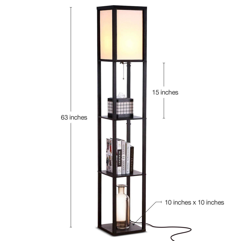 Brightech Maxwell – LED Shelf Floor Lamp – Modern Standing Light for Living Rooms Bedrooms – Asian Wooden Frame with Open Box Display Shelves – Black