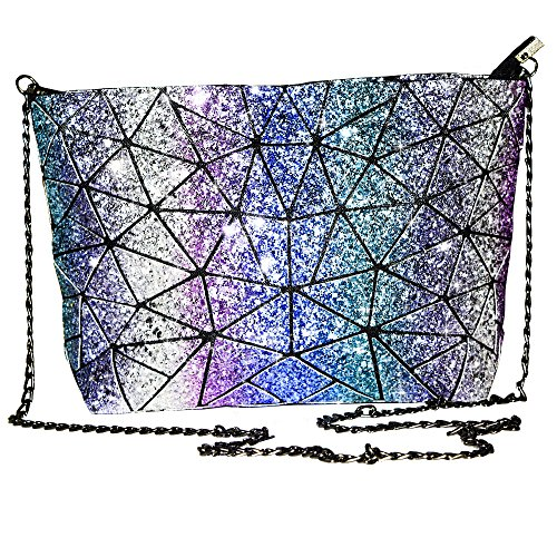Glitter Purse - Magibag Glitter Lattice Geometric Plaid Handbag with Chain Strap Womens Shoulder & Crossbody Diamond Bag Purse