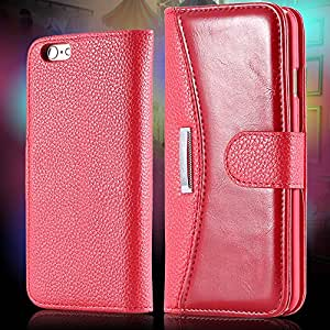 6 Business Flip Leather Case For Iphone 6 4.7 Inch Full Cover Stand Function With Card Insert Protective Skin Case For Iphone 6 --- Color:Red