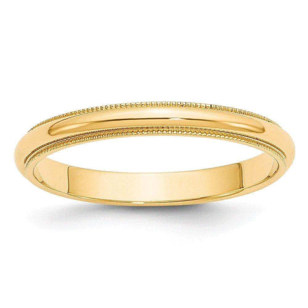 Best Designer Jewelry 14k 3mm Milgrain Half-Round Wedding Band