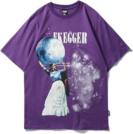 AFASSW - Camiseta de manga corta para hombre, diseño de planeta, color morado: Amazon.es: Deportes y aire libre