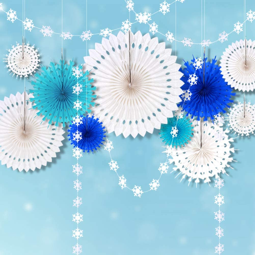 Ice Blue Frozen Snowflake Party Decorations White Hanging Paper Fans Decor & Snowflakes Garlands Bunting Banner Streamers for Elsa Birthday/Christmas Tree/Baby Shower/Wedding/ Kids Room/Home