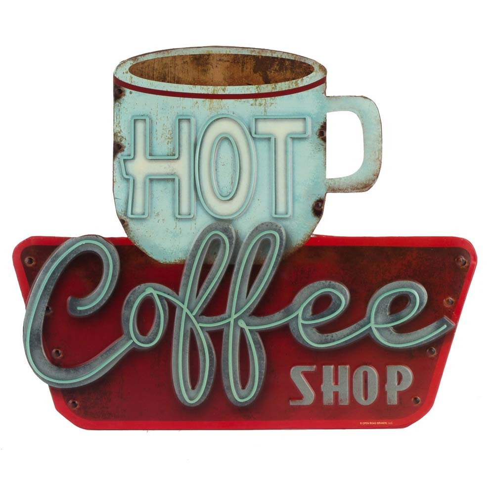 Open Road Brands - Retro Vintage Metal Tin Sign, Hot Coffee for Kitchen, Diner, and Home Decor