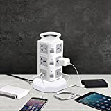 Power Strip Surge Protector - GLCON Power Strip Tower with 4 USB Slot + 10 Outlet Plugs + 6ft Long Extension Cord - Universal Charging Station Vertical Socket for Electric Applianc