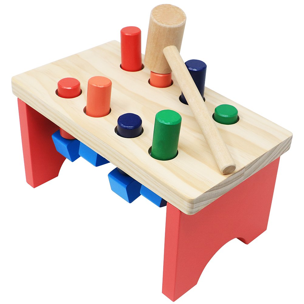 NEOWOWS Pounding Bench Wooden Toy with Mallet Deluxe Early Educational Toys for Toddlers Kids 3 and Up