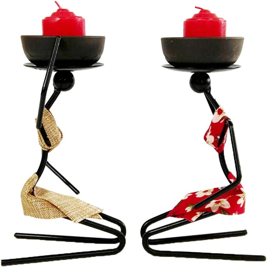 Willcome Pack of 2 African Tribal Lady Candle Holder Centerpieces with Relish Dish Metal Ornaments for Home Dining Room Decor
