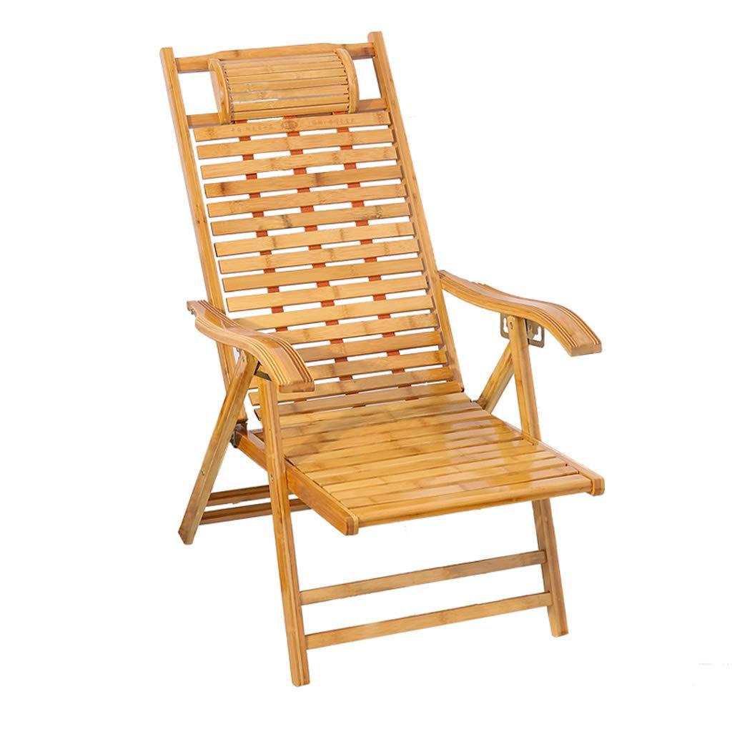 折り畳み式デッキチェア竹の椅子レジャーチェアテラス庭園屋外リクライニングチェアホームリクライニングアームレスト付背もたれ椅子ビーチサンラウンジャー (サイズ さいず : Standard) B07PR47ZMG  Standard