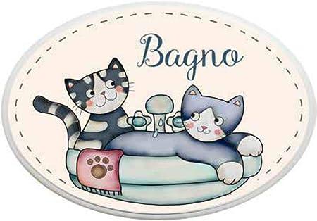 LAngolo delle Idee - Placa Ovalada para baño, diseño de Gatos y Animales: Amazon.es: Hogar