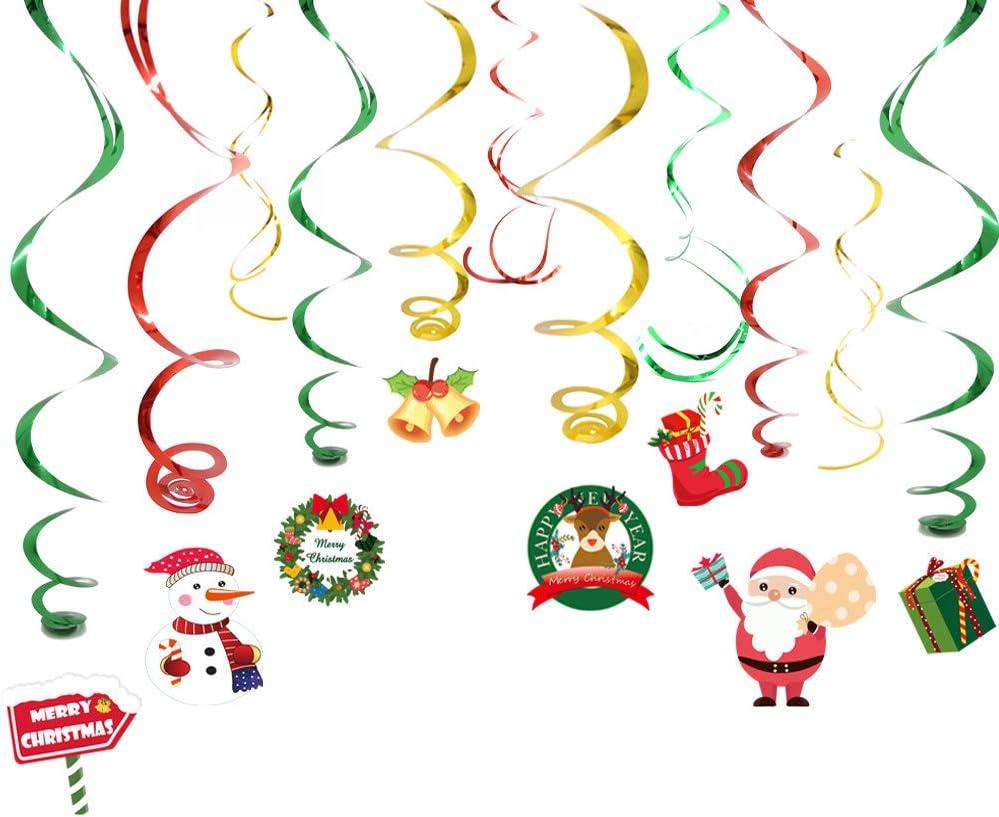 24Piezas Navidad Decoración Colgante Remolino, Navideños Colgar Remolino Decoración, para Navidad Fiesta decoración Cumpleaños, Muñeco de Nieve, Papá Noel