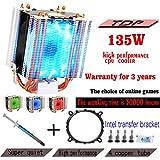 hibyebuying CPU Coolers, Cooler Master 4 Heatpipe 130W Red CPU Cooler 3-Pin Fan Heatsink For Intel LGA1156 AMD AM2 754