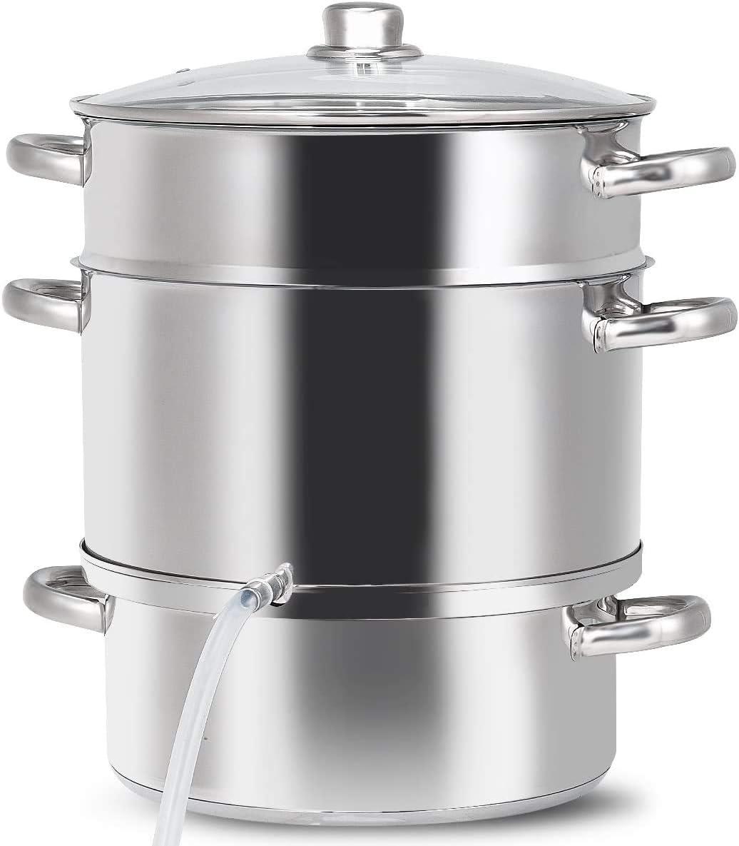 FANTASK 11-Quart Stainless Steel for Fruit and Vegetables, Fruit Juicer Steamer with Tempered Glass Lid and Safe Loop Handle, Multipurpose Juicer Steamer Kitchen Pot for Home Cooker, Silver