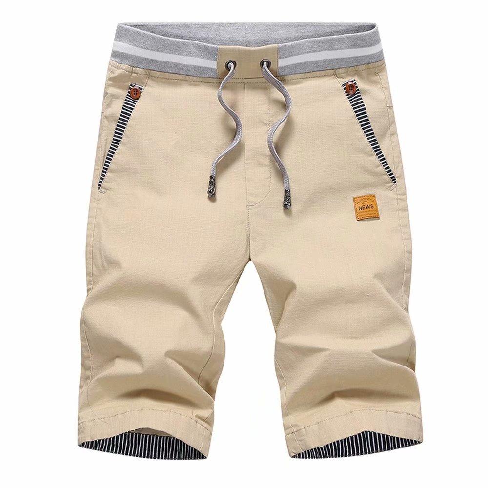 STICKON Men's Shorts Casual Classic Fit Drawstring Summer Beach Shorts with Elastic Waist and Pockets (Khaki, US M=XL)