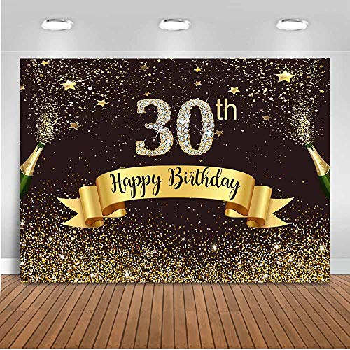 Mocsicka Black and Gold 30th Birthday Backdrop 7x5ft Vinyl Happy 30th Birthday Gold Dots Champagne Photography Background Birthday Celebration Event Photo Backdrops