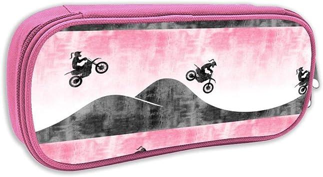 Estuche de lápices Infantil,(Escala pequeña) Motocross Dirt Bike Pink con Cola de Caballo C18BS_3069 - littlearrowdesign, pingk: Amazon.es: Juguetes y juegos