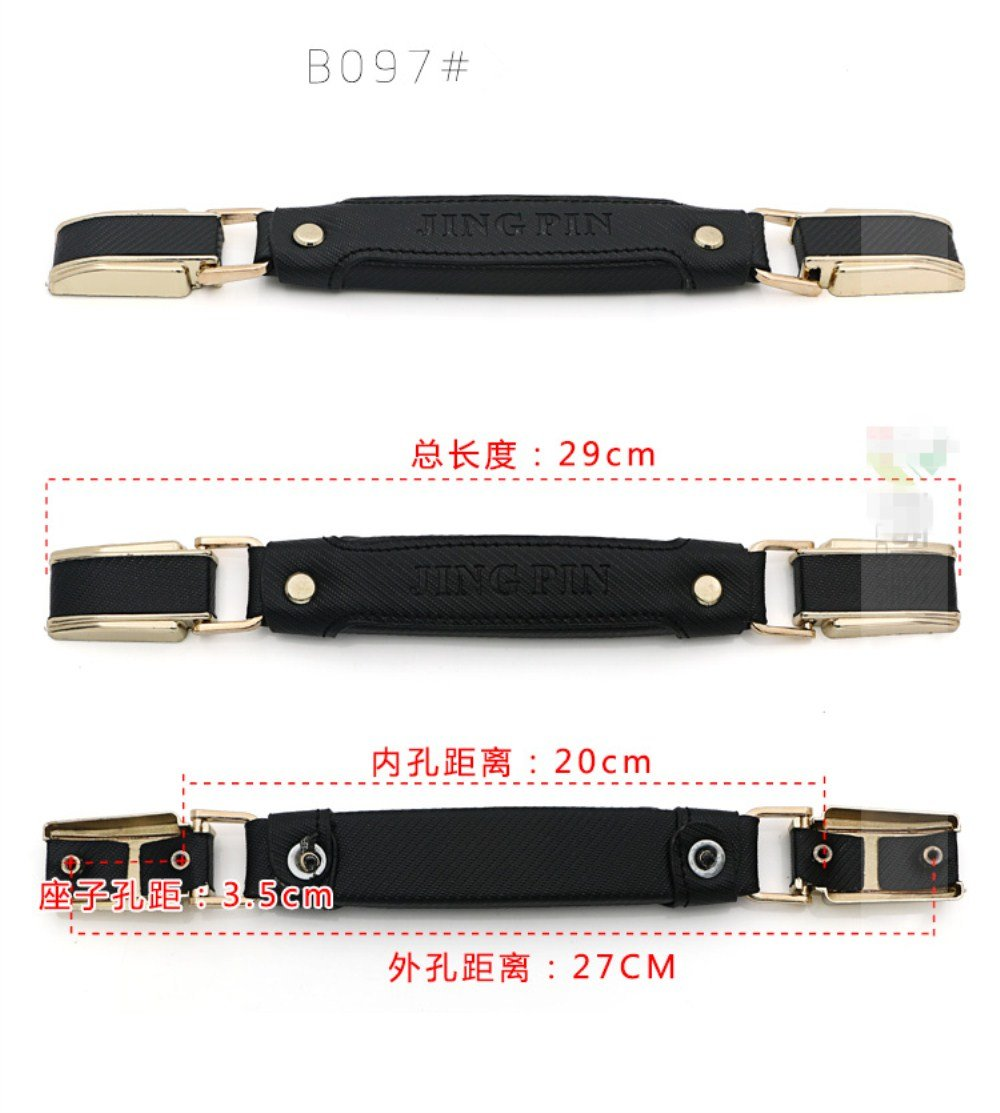 1pcs/set Leather + Metal Luggage Suitcase Handle Pulls for replacement luggage parts Door Strap / handle Password Draw bar box DIY B097# Black stripe