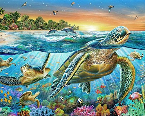 21secret 5D Diamond Diy Painting Full Round Drill Handmade Riotous Ocean world Sea Turtle Cross Stitch Home Decor Embroidery Kit ()