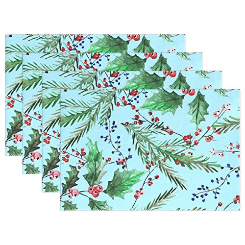 Set of 4 Holly Berries And Fir Tree Branches Polyester Placemat - 12x18 in - Washable Heat and Crease Resistant Printed Place Mat for Kitchen Dinner Table
