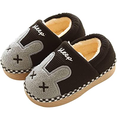 06acad3653f Boys Girls Faux Fur Slipper Booties Floppy Plush Liner Cute Animal Cotton  Quilted Sleeping Room Booties