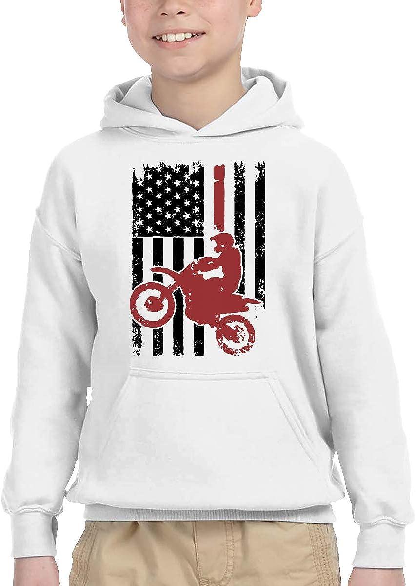 Fziee USA Flag Dirtbike Motocross Kids Boys Girls Trendy Long Sleeve Hoodie Sweatshirt Black