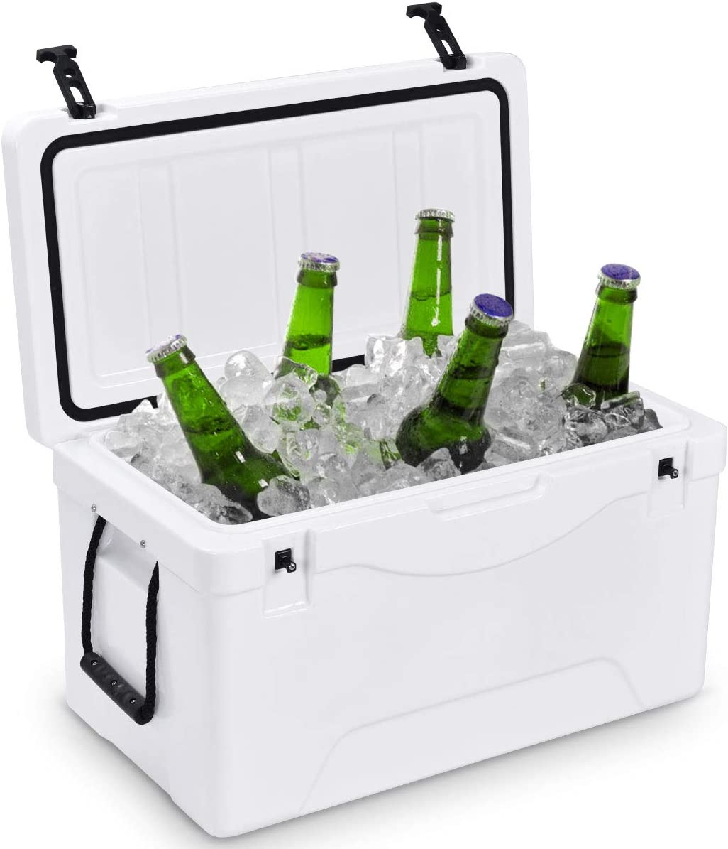 Giantex 64 Quart Heavy Duty Cooler Ice Chest Outdoor Insulated Cooler Fishing Hunting Sports (White)