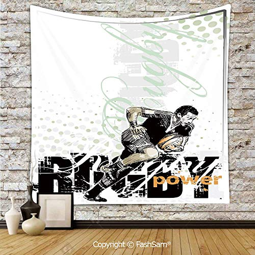 FashSam Hanging Tapestries Sketchy Rugby Player with a Ball Running Power Muscular Strength Challenge Decorative Wall Blanket for Living Room Dorm Decor(W51xL59) ()