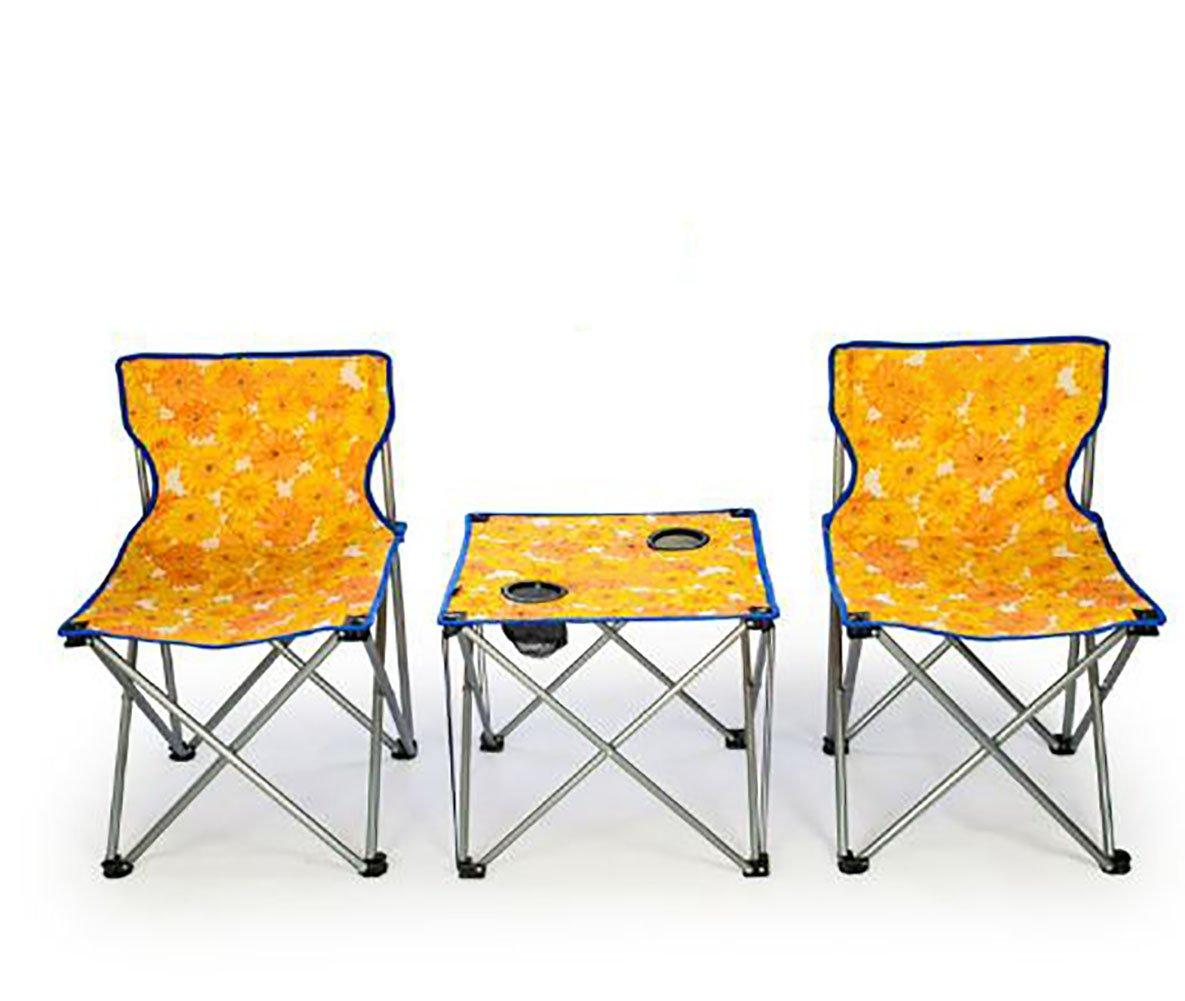 KOKR 1 x Campingmöbel Set Klapptisch + 2 x Campingstühle, Gartenmöbel Campinggarnitur