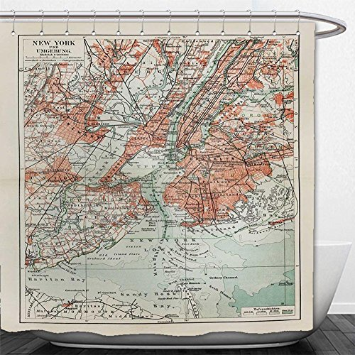 Beshowere Shower Curtain New York old map from the end of th - Macys Map New York