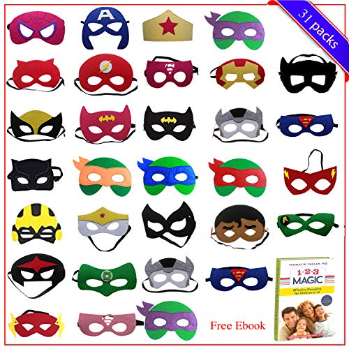 Birthday Party Favors for Kids | 31 Pieces Superhero Masks Kids Party Favors for Boys & Girl | Superhero Birthday Party Supplies Perfect for Children -