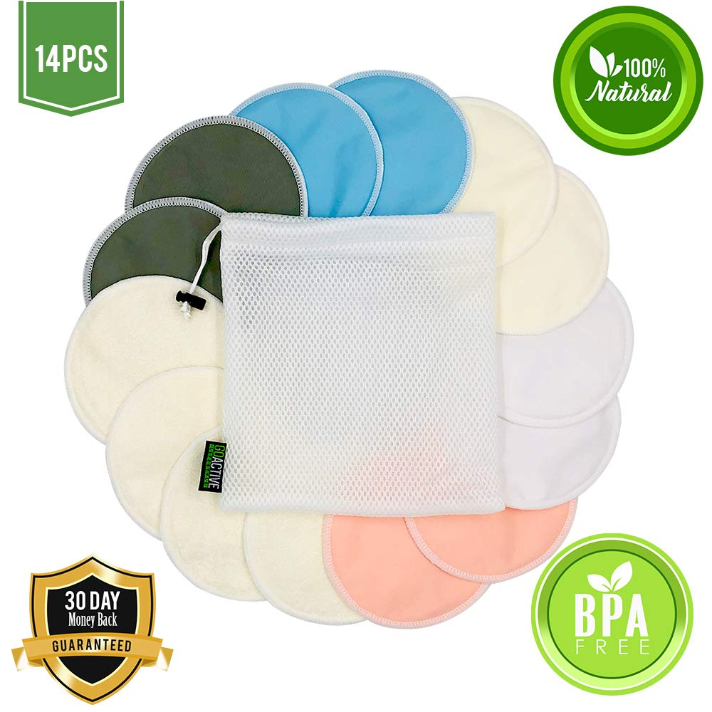 - Organic Bamboo Reusable Breast Pads Nursing Pads for Breastfeeding Soft /& Super Absorbent 5 Regular and 2 Pairs of Additional Overnight Pads Plus Laundry Bag 14 Pack Great Baby Shower Gifts