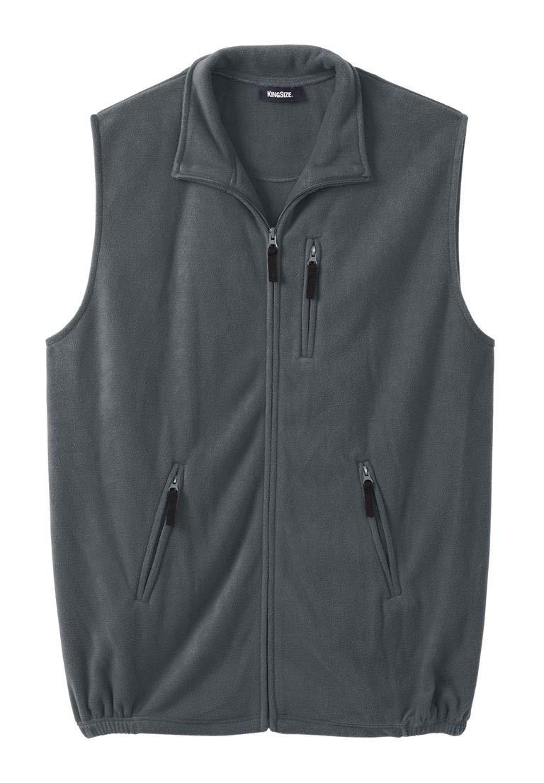 KingSize Men's Big & Tall Explorer Fleece Zip Vest, Steel Big-3Xl by KingSize