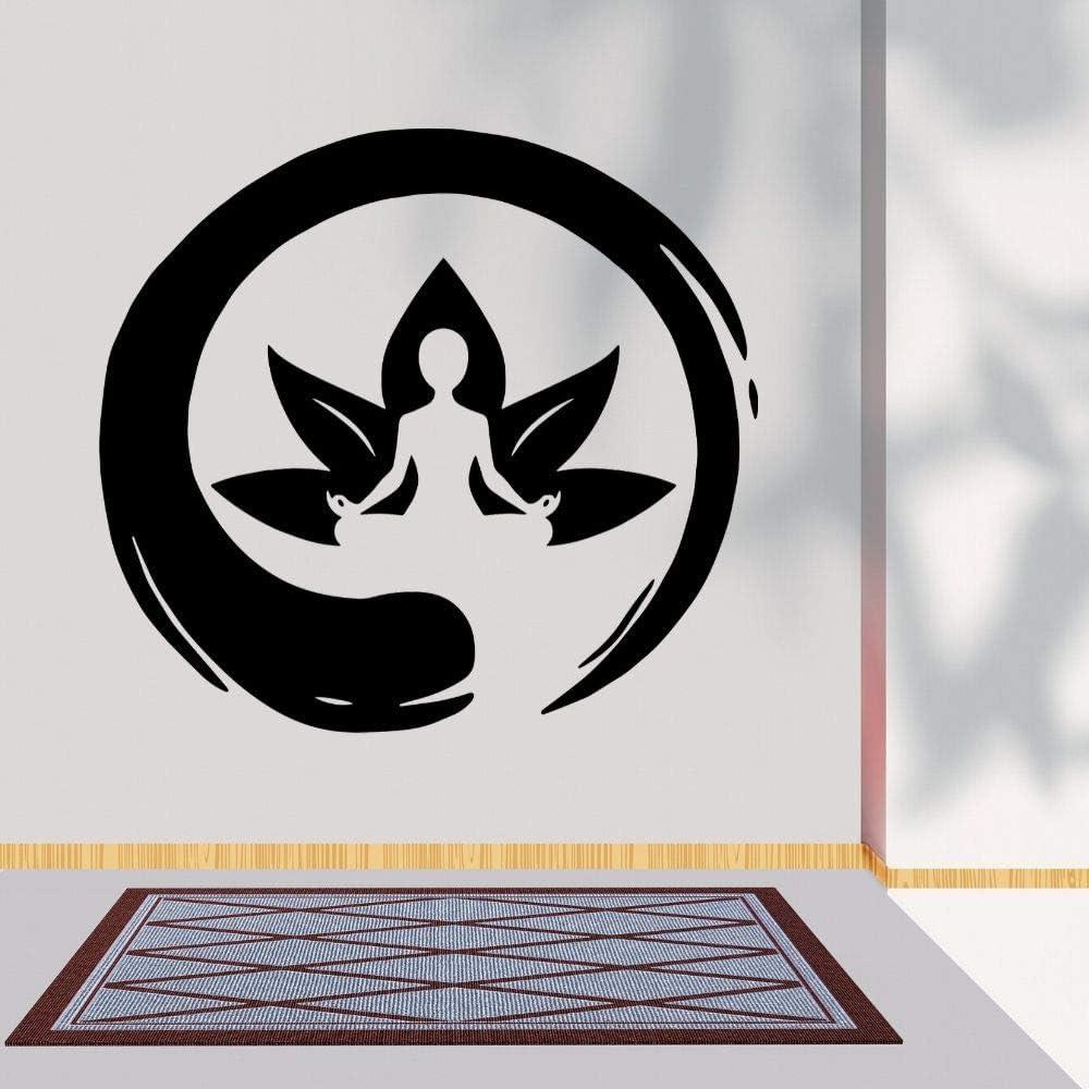 wZUN Meditación Lotus Etiqueta de la Pared Budista Zen Yoga Sala de Estar y decoración del Dormitorio extraíble 68X62cm