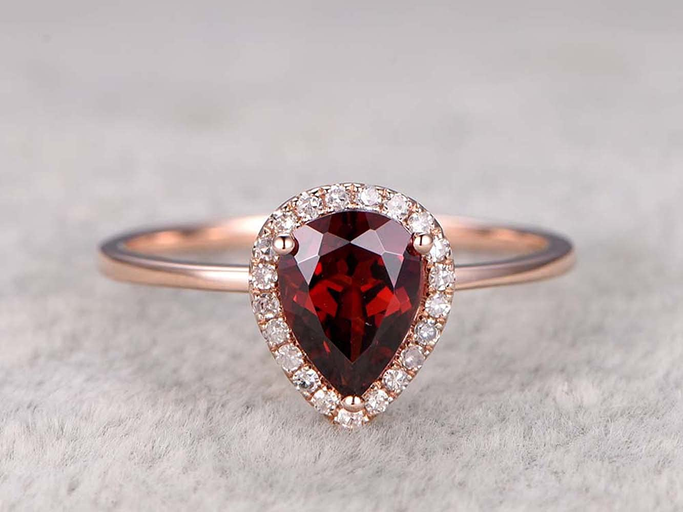 RUDRAFASHION 6x8mm Pear Cut Red Garnet /& Diamond 14k Rose Gold Plated Engagement Halo Ring for Womens
