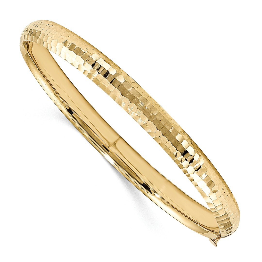 ICE CARATS 14k Yellow Gold Kids 5mm Hinged Baby Bangle Bracelet Cuff Expandable Stackable Fine Jewelry Gift For Women Heart